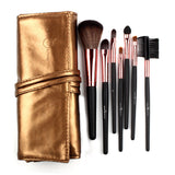 Makeup Brushes,High Quality 7 Makeup Brush Set Kit in Sleek Golden Leather Bag - Snapup247