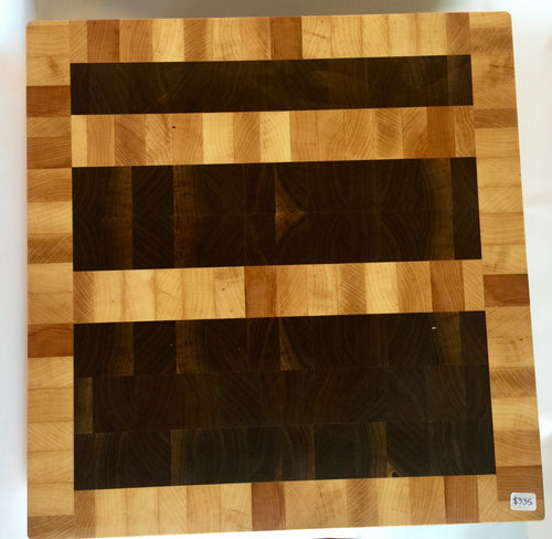 End grain cutting board - Three Bars - Artist Series 1 - 15x15-1/2x1-1/2 in.