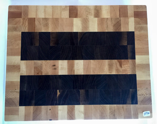 End grain cutting board - Two Bars - Artist Series 1 - 16x13x1-1/2 in.