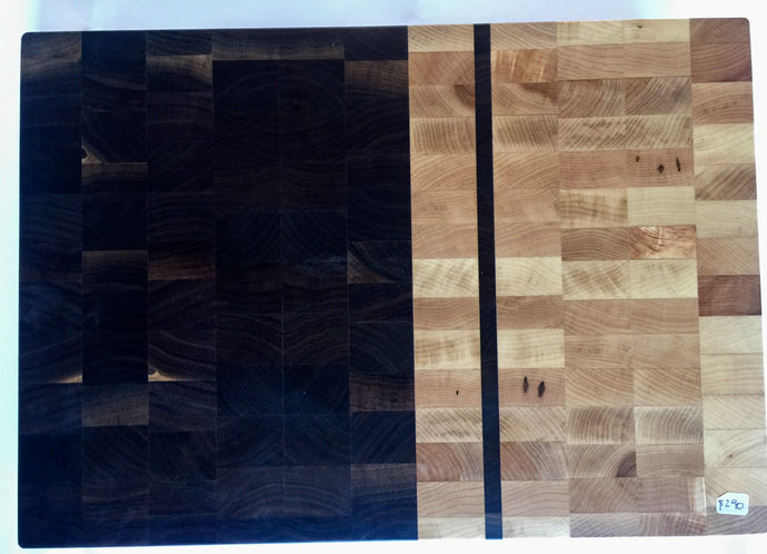 End grain cutting board - Black Fire - Artist Series 1 - 18x12x1-1/2 in.