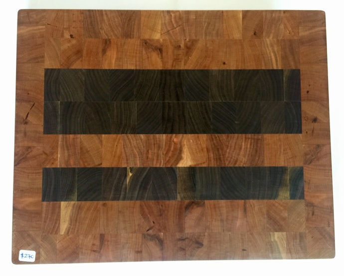 End grain cutting board - Red & black - Artist Series 1 - 13-1/2x12x1-1/2 in.