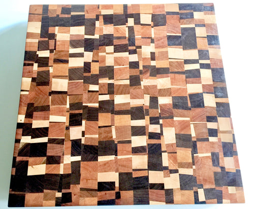 End grain cutting board - Loco 3- Artist Series 1 - 16x16x1-1/2 in.