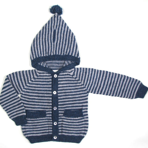 Miou Kids Alpaca Wool Striped Meunier Cardigan