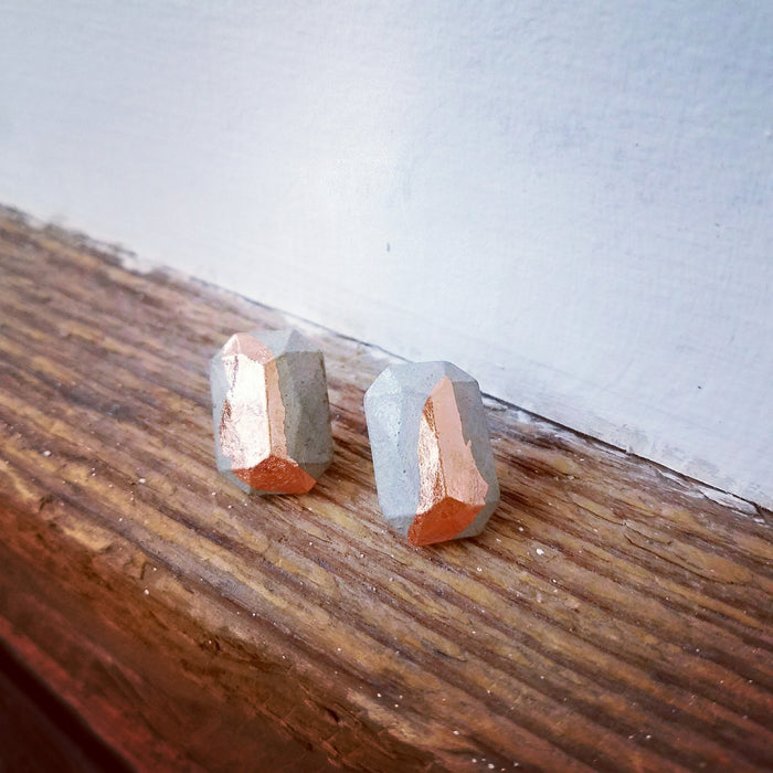 copper/concrete earrings 2