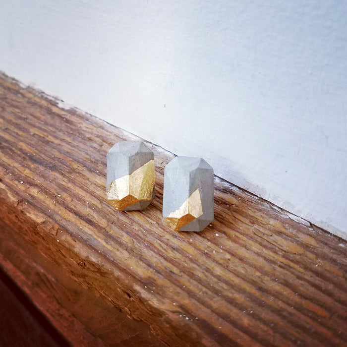 gold/concrete earrings 2