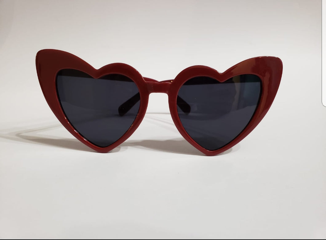 Heart cateye sunnies red