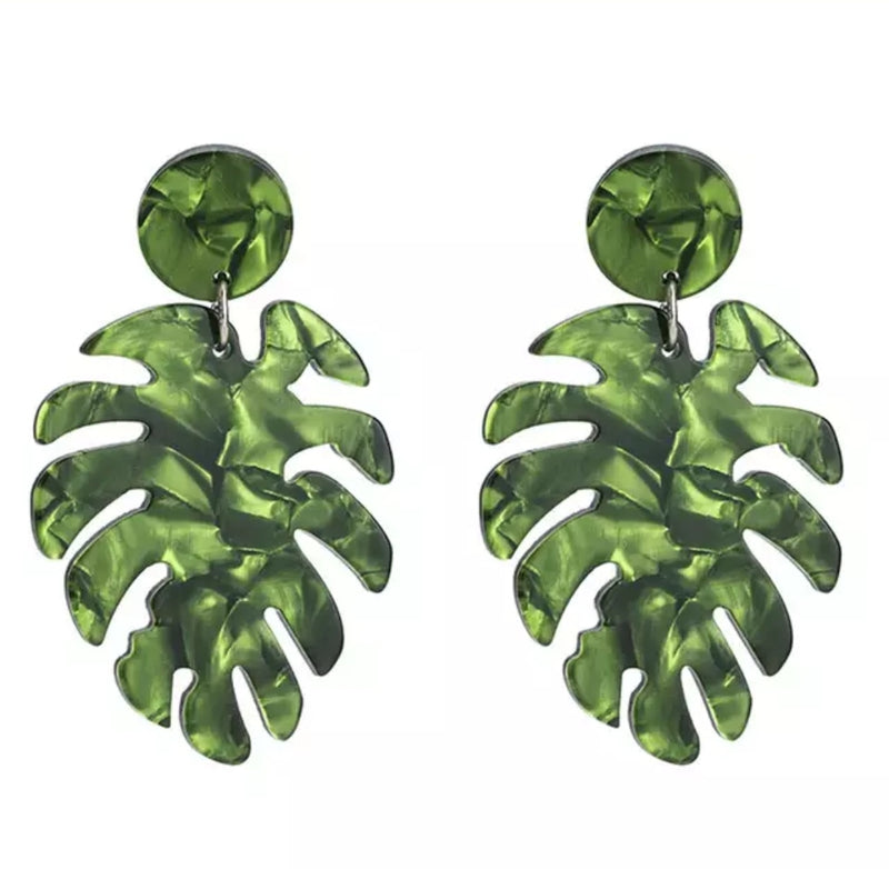 Acrylic Palm Leaf Drop Earrings