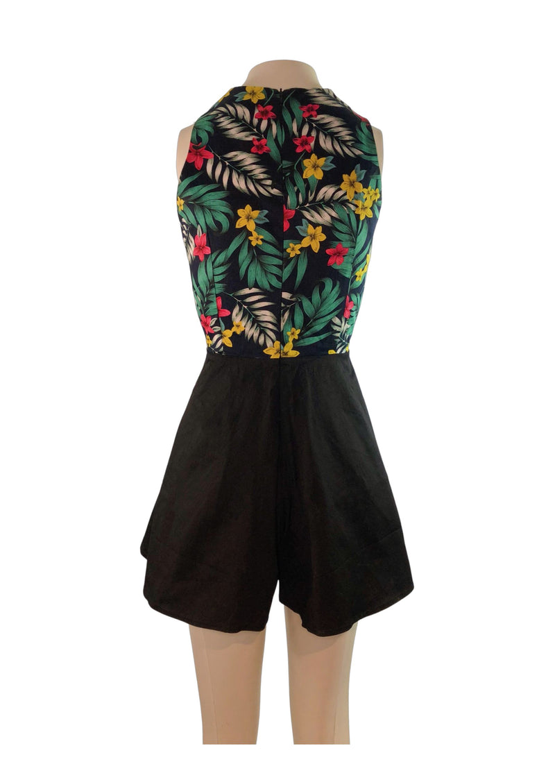 Likelike loose leg playsuit black tropical