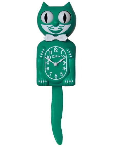 "Green Beauty Kit cat clock 15.5"" limited edition - Rockin Bettie"