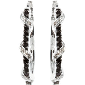 Black Spinel & Diamond Earrings