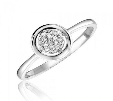 Diamond Cluster Bezel set solitaire Engagement ring