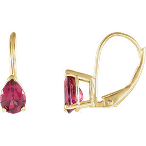 Pear V-End Lever Back Earrings