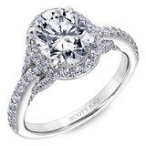 Scott Kay 14k White Gold Embrace Oval Halo Diamond Engagement Ring