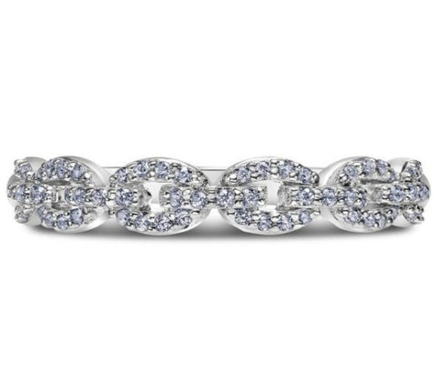 Scott Kay 14k White Gold Embrace Link Diamond Wedding Band