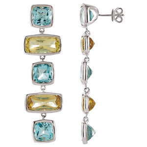 Sky Blue Topaz & Lime Quartz Multi-Gemstone Earrings