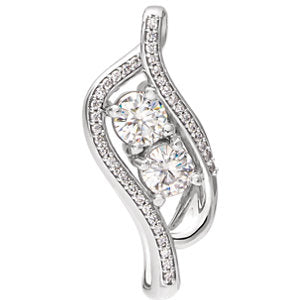 Charles & Colvard Moissanite® & Diamond Accented Two-Stone Pendant
