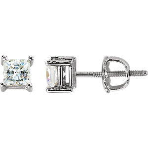 Cubic Zirconia Square 4-Prong Stud Earrings