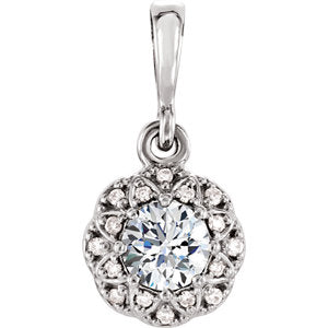 Charles & Colvard Moissanite® & Diamond Accented Halo-Style Pendant