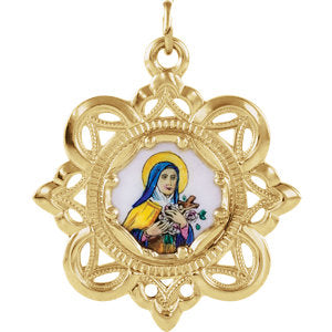 Enameled St. Theresa Framed Medal