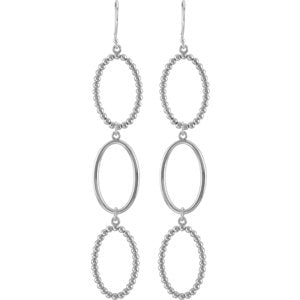 Bead Oval Silhouette Earrings