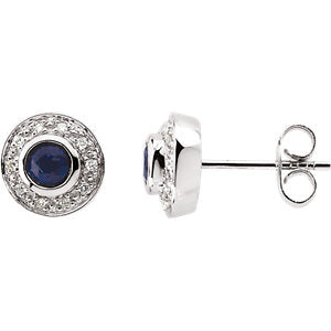 Blue Sapphire & Diamond Halo-Style Earrings
