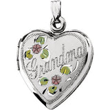 "Enameled Flowers ""Grandma"" Heart Locket"