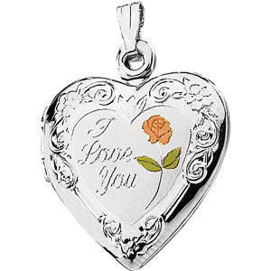 "Enameled Roses ""I Love You"" Heart Locket"