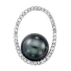 Accented Circle Pearl Pendant