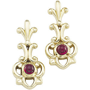 Genuine Cabochon Ruby Earrings