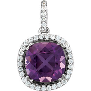Amethyst & Diamond Necklace or Pendant