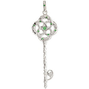 Tsavorite Garnet Vine Key Necklace or Pendant