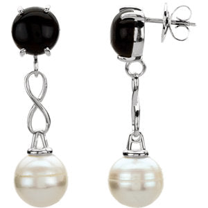 Freshwater Cultured Pearl & Onyx Earrings