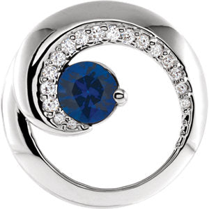 Blue Sapphire & Diamond Circle Pendant or Semi-Set