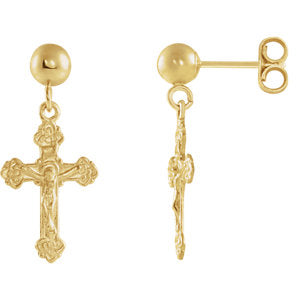 Crucifix & Ball Earrings