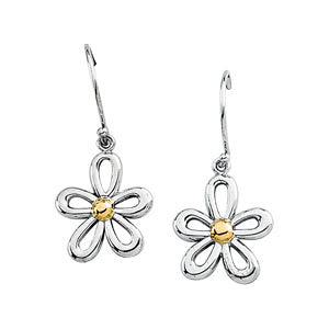 Gold Fashion Two Tone Floral-Inspired Earrings