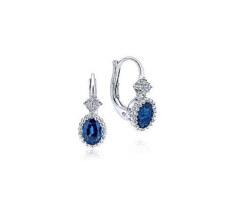 14k White Gold Beaded Oval Sapphire & Diamond Drop