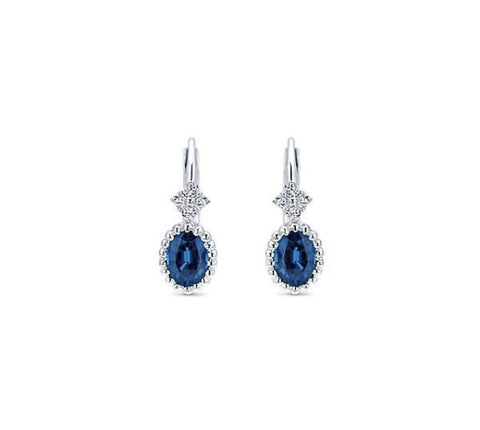 14k White Gold and Sapphire Drop Earrings