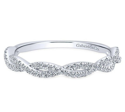 Gabriel Infinity 14k White Gold Stackable Diamond Band