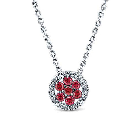 14k White Gold Fashion A Quality Ruby