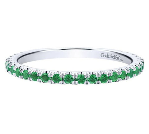 Gabriel 14k White Gold Stackable Emerald Band