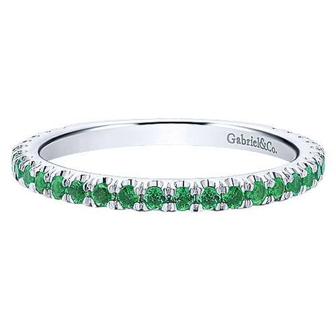 14k White Gold Stackable A Quality Emerald Ladies Ring