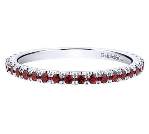 14k White Gold Stackable Garnet Ladies Ring