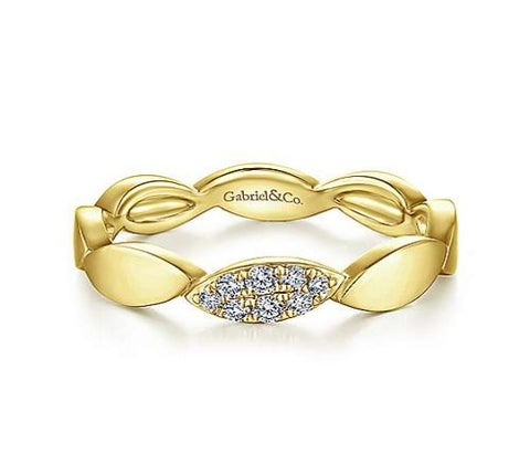 14k Yellow Gold Stackable Contoured Marquise