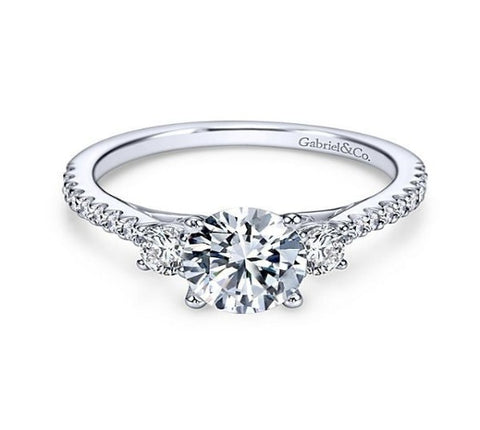 14k White Gold Round 3 Stones Engagement Ring