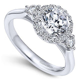 14k White Gold Round 3 Stones Halo Engagement Ring