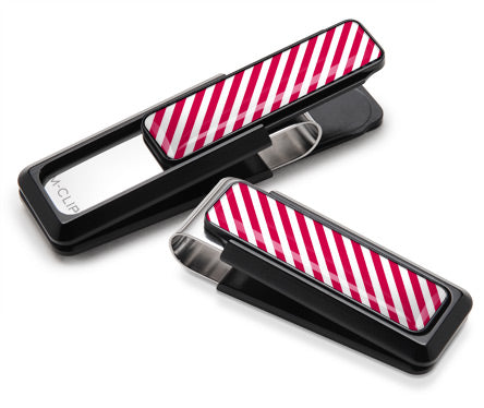 Red & White Inlay Money Clip