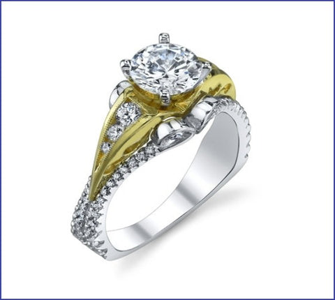 Gregorio Two-Tone Diamond Band Engagement Ring