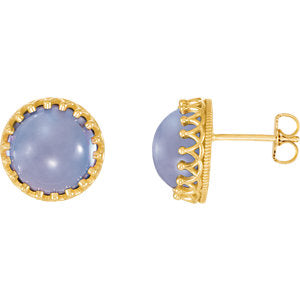 Round Bezel-Set Cabochon Crown Earrings