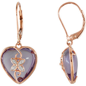 Rose de France & Diamond Heart Lever Back Earrings