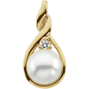Accented Freeform Pearl Pendant